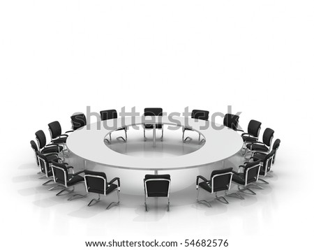 conference table and chairs isolated on white background - stock photo