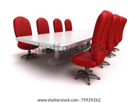 Conference table and red chairs , isolated - stock photo
