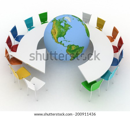 Conference table as an arrow with globe. Concept of global politics, diplomacy, environment, world leadership. 3d illustration. Elements of this image furnished by NASA  - stock photo