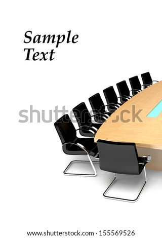 Conference Table. 3d illustration - stock photo