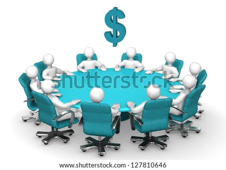 Conference table with swivel armchairs and symbol of dollar.