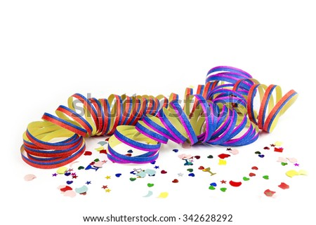 Confetti and colorful streamers isolated on white background - stock photo