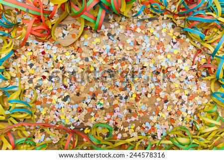 Confetti and steamer background - stock photo