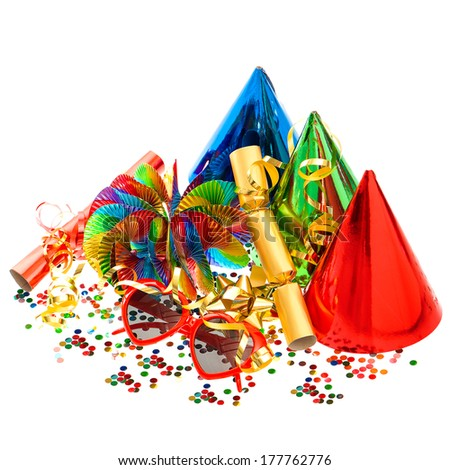 confetti, garlands, streamer, cracker, party glasses on white background - stock photo