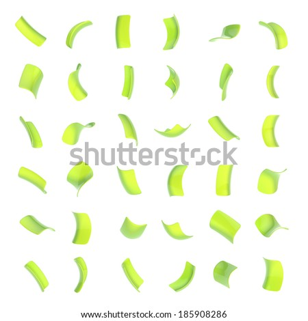 Confetti glossy bright green flakes set of sixteen foreshortenings isolated over the white background