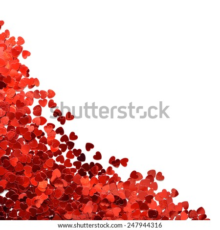 Confetti in shape of heart isolated on white background