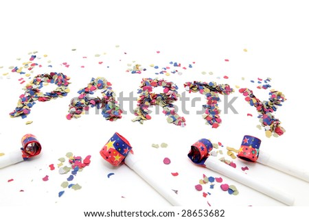 confetti party and blowers with copyspace isolated - stock photo