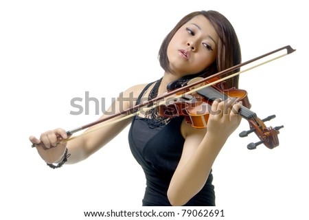 Confidence and sexy looks of girl plays with violin, isolated background - stock photo