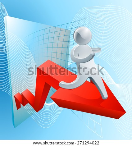 Confidence increasing profit concept of a businessman on a red arrow showing growth in business or share market - stock photo