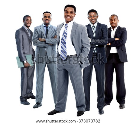 Confident African American Business Team isolated on white background - stock photo