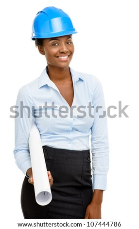 Confident African American woman architect smiling white background - stock photo