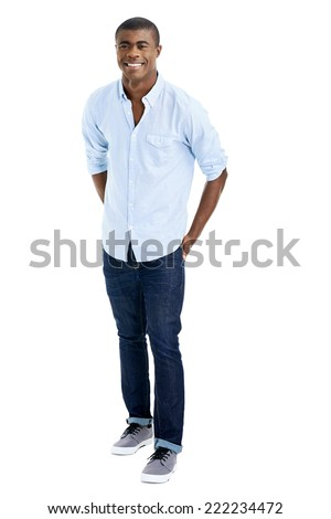 confident african fashion man isolated on white - stock photo