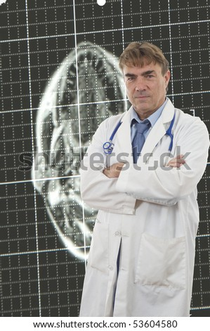 Confident and friendly Doctor isolated on white - stock photo