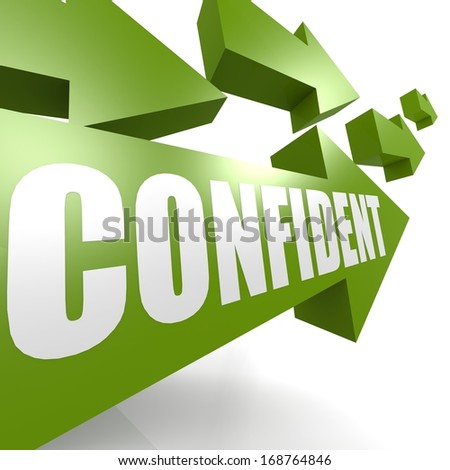Confident arrow green - stock photo