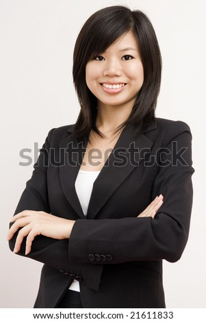 Confident Asian Business/Educational women with smiling face - stock photo