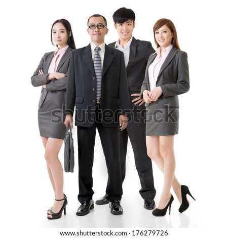 Confident Asian business team, full length on white background. - stock photo
