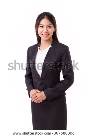 confident asian businesswoman isolated - stock photo