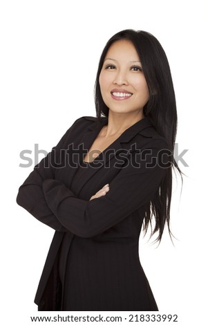 Confident asian businesswoman on a white background. This photo has been produced with professionals. - stock photo