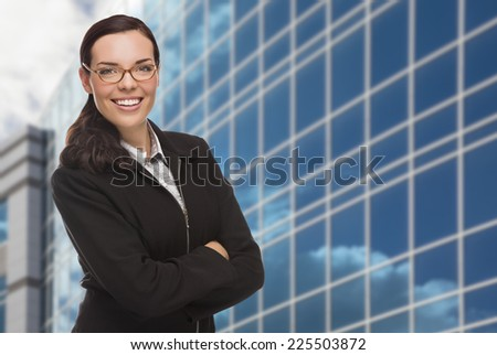 Confident Attractive Mixed Race Woman in Front of Corporate Building Outside. - stock photo
