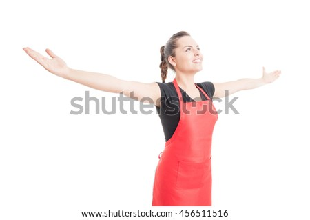 Confident beautiful employee holding arms wide open as welcoming or success concept isolated on white background - stock photo