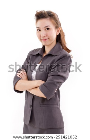 confident business executive looking at camera - stock photo