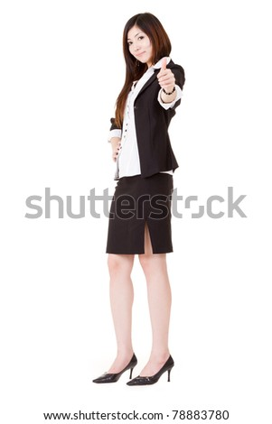 Confident business executive woman of Asian give you an excellent gesture and looking at you, full length portrait isolated on white background. - stock photo