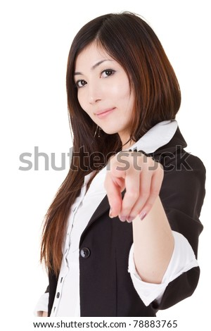 Confident business executive woman of Asian pointing and looking at you, half length closeup portrait on white background. - stock photo