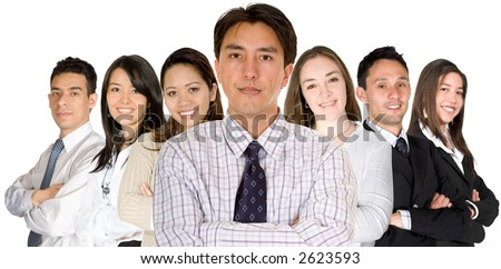confident business man and his business team - group formed of people from all over the world over a white background - stock photo