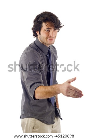 Confident business man offering a handshake, ready to seal a deal isolated over white background