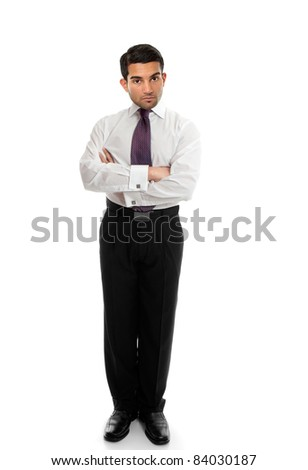 Confident business man or salesman standing with arms folded on a white background. - stock photo