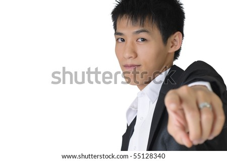 Confident business man pointing out towards you on white background with copyspace. - stock photo