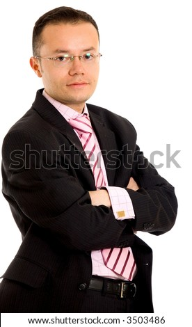 confident business man portrait - isolated over a white background - stock photo
