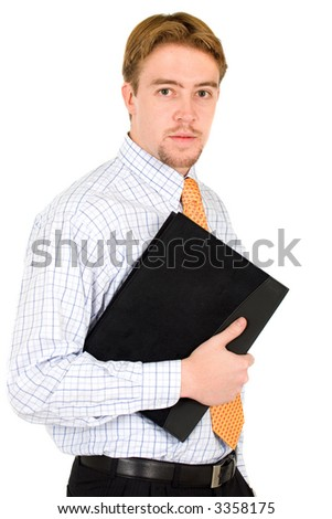 confident business man portrait with a folder - isolated over a white background - stock photo