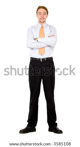 confident business man standing - isolated over a white background - stock photo