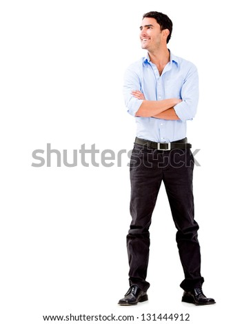 Confident business man with arms crossed - isolated over - stock photo