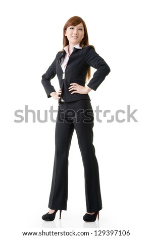 Confident business manager woman of Asian, full length portrait isolated on white background.