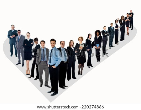 Confident business people, full length shots. - stock photo