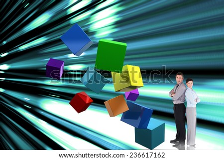 Confident business team against abstract turquoise glowing background - stock photo