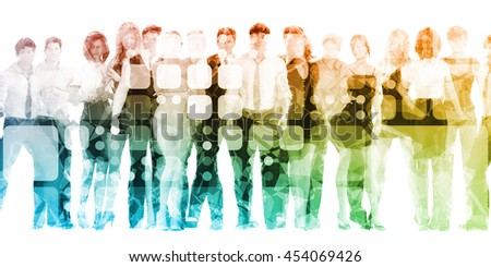 Confident Business Team Smiling as Abstract Background 3D Illustration Render