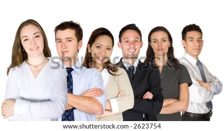 confident business woman and her business team - group formed of people from all over the world over a white background - focus is on the woman in the foreground