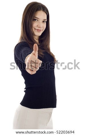 Confident business woman giving you a thumbs up! Isolated on white background