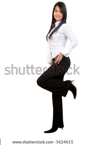 confident business woman leaning against something wearing elegant clothes - isolated over a white background