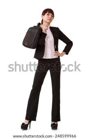 Confident business woman of Asian standing and looking at you, full length portrait isolated on white background. - stock photo