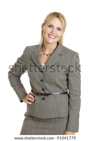 Confident business woman portrait isolated on white - stock photo