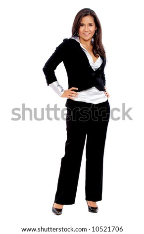 confident business woman standing wearing elegant clothes - isolated over a white background