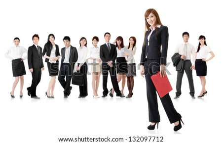 Confident business woman with her team on white background.