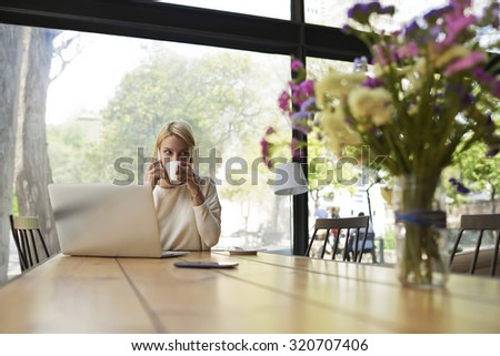 Confident business woman work on laptop computer holding the cup of cafe,female freelancer at distance work via net-book enjoying her cup of tea,young caucasian student learning on-line at coffee shop - stock photo