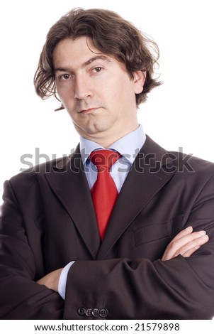 confident businessman crossed arms isolated