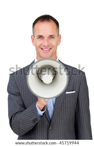 Confident businessman holding a megaphone isolated on a white background - stock photo