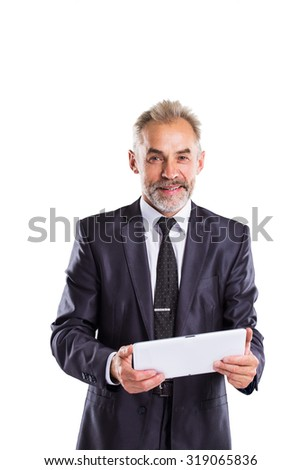 Confident businessman isolated on white background. - stock photo
